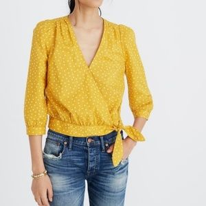 NWT Madewell Star Scatter Wrap Top Mustard Yellow